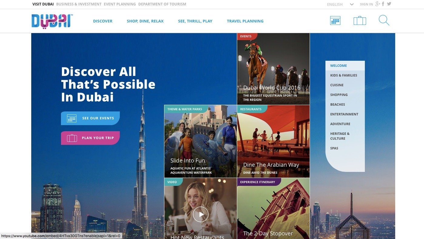 Dubai Turism Website